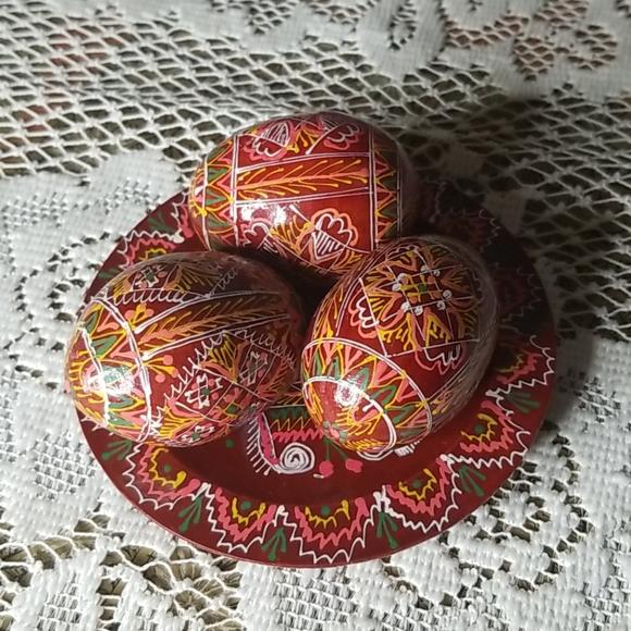 Ukrainian Wood Eggs on matching Plate-Handpainted